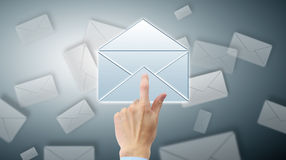 Arm press button in envelope. Icon on touch screen Royalty Free Stock Image