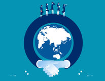 Arm shaking hand surrounding the globe. Concept business success. Illustration. Vector flat Stock Image