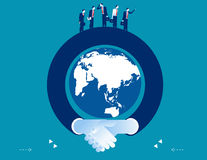 Arm shaking hand surrounding the globe. Concept business success. Illustration. Vector flat Royalty Free Stock Images
