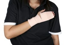 Arm splint, hand badage, gauze bandage patient with Asian girl hand wrap injury. Arm splint, hand badage, gauze bandage patient with Asian girl hand wrap injury stock photo