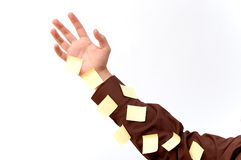 Arm with stickies. A man´s arm full of stickies Royalty Free Stock Image