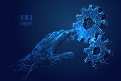 Arm is touching gearing. Human Arm touch gears composed of polygons. Low poly vector illustration of a starry sky style. gearing consists of lines, dots and vector illustration