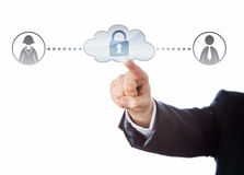 Free Arm Touching Locked Cloud Linked To Two Workers Stock Image - 54436031