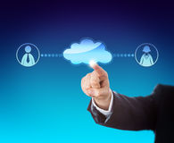 Arm Touching Void Cloud Linked To Office Workers Stock Photos