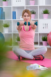 Arm training with dumbbells Royalty Free Stock Photo