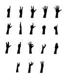 Arm vector jestures set. On white background Royalty Free Stock Photo
