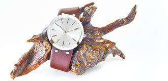 The arm watch with the leather strap on wood Stock Image