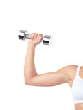 Arm of woman exercising with weight stock images