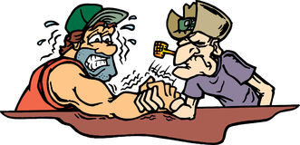Arm wrestling. Old cowboy beating man in arm wrestling Stock Image