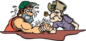 Arm wrestling. Old cowboy beating man in arm wrestling Vector Illustration