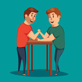 Arm Wrestling. Battle fighters. Cartoon vector illustration. Muscular people. Strong men. Challenge of friends Stock Photos