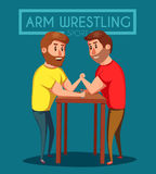 Arm Wrestling. Battle fighters. Cartoon vector illustration. Royalty Free Stock Image