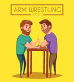 Arm Wrestling. Battle fighters. Cartoon vector illustration. Stock Image