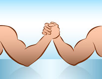 Arm Wrestling Blue Royalty Free Stock Photography