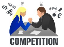 Business people and professional parity. Arm wrestling between businessman and businesswoman at work. Rivalry at work. Man and wom royalty free illustration