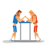 Arm wrestling competition. Cartoon athletes are competes. Funny characters Royalty Free Stock Image