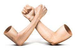 Arm wrestling. Human arm wrestling competition in concept of feeble battle with strong on white background with clipping path royalty free stock images