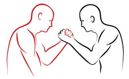 Arm wrestling  illustration red and black Royalty Free Stock Photos