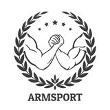 Arm wrestling logo. With two men hands, stars and laurel wreath. Vector illustration Stock Images