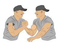Arm wrestling men with muscle hands fight one another. vector illustration royalty free illustration