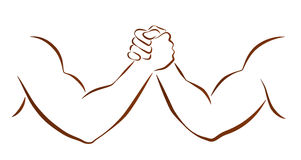 Arm Wrestling. Outline illustration of two muscular arms that are wrestling Royalty Free Stock Photography