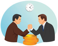 Arm wrestling of two businessmen Stock Images