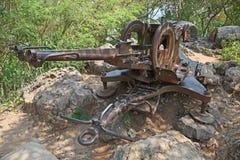 Arma anti de los aviones - Luang Prabang - Laos Imagen de archivo libre de regalías