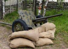 arma antitanques 45-milímetro del modelo 1937 en el ` militar-patriótico de Borodino del ` del campo Imagen de archivo libre de regalías