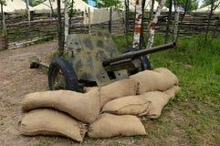 arma antitanques 45-milímetro del modelo 1937 en el ` militar-patriótico de Borodino del ` del campo Foto de archivo libre de regalías