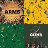 Arma automatica e della mano militare dell'insieme, della pistola nel barilotto della rivista con le pallottole per shoting di pr Fotografie Stock Libere da Diritti