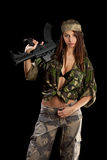 Arma bonita da terra arrendada da mulher Imagem de Stock Royalty Free