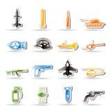 Arma, braccia ed icone semplici di guerra Fotografia Stock Libera da Diritti