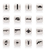 Arma, brazos e iconos simples de la guerra Fotos de archivo