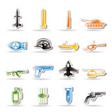 Arma, brazos e iconos simples de la guerra Foto de archivo libre de regalías