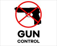 Arma com sinal do ` do controlo de armas do ` ilustração stock