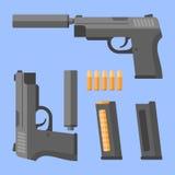 Arma con el silenciador, la revista y los cartuchos Pistola automática en estilo plano Ilustración del vector stock de ilustración