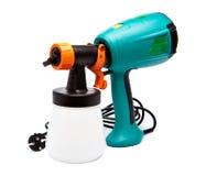 Arma de espray eléctrico para la coloración, para la pulverización del color. Ciérrese para arriba en un día soleado Imagenes de archivo