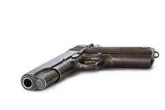 Arma de la arma de mano de la pistola automática aislada en el fondo blanco Foto de archivo