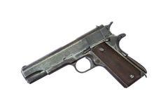 Arma de la arma de mano de la pistola automática aislada en el fondo blanco Imagen de archivo libre de regalías