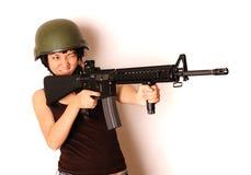 Arma de la explotación agrícola de la muchacha Fotos de archivo