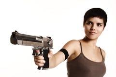 Arma de la explotación agrícola de la muchacha Imagen de archivo libre de regalías