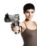 Arma de la explotación agrícola de la muchacha Fotografía de archivo