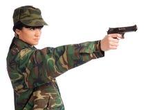 Arma de la explotación agrícola de la muchacha del ejército Fotos de archivo libres de regalías