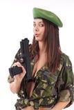 Arma de la explotación agrícola de la muchacha del ejército Foto de archivo libre de regalías