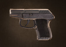 Arma de la pistola del bolsillo de Keltec P-32 en Grundge Backgroun Imagen de archivo