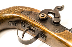 Arma de madera viejo del primer aislado Fotografía de archivo libre de regalías