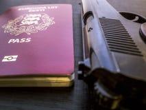 Arma de mano y pasaporte imágenes de archivo libres de regalías