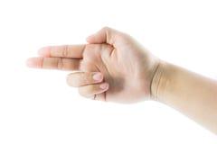 Arma del gesto de mano Fotos de archivo libres de regalías