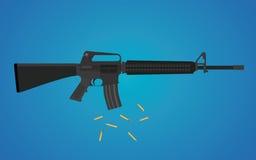 Arma del rápido M16 con la cáscara de la munición Foto de archivo