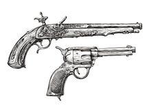 Arma del vintage Pistola retra, mosquete Bosquejo a mano de un revólver, arma, arma de fuego ilustración del vector